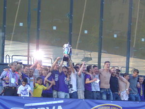 NK Maribor - Maribor players celebrating the club's ninth league title in 2011.