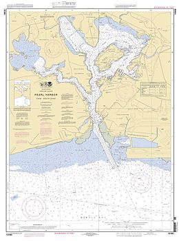 Nautical chart of Pearl Harbor showing Ford Island in the northeast section