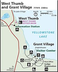 File:NPS yellowstone-west-thumb-grant-village-map.jpg ... on map of grand prismatic spring, map of yellowstone geysers, map of mud volcano, map of firehole canyon drive, map of mystic falls, map of yellowstone national park, map of old faithful area, map of yellowstone river,