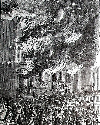 Conscription in the United States - Rioters attacking a building during the New York anti-draft riots of 1863