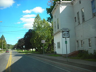 """New York State Route 417 - Reference and reassurance markers on NY 417 eastbound in Bolivar. The reference marker's top row reads """"17"""" for NY 17, NY 417's original designation."""