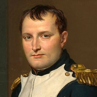 The resurgent Napoleon's strategy was to isolate the Anglo-allied and Prussian armies and annihilate each one separately. Napoleon crop.jpg