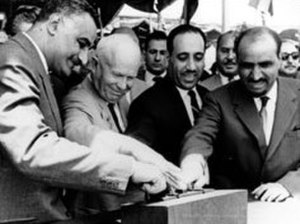 Unified Political Command - From left to right: Nasser, Khrushchev, Arif and as-Sallal in Egypt (May 1964)