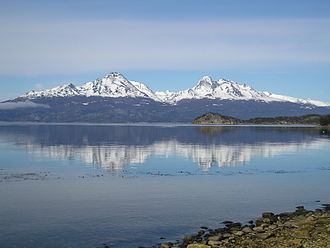 Hoste Island - A view across the Beagle Channel to Isla Hoste from Isla Grande de Tierra del Fuego
