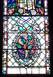 "Stained glass showing the burning bush and the motto ""nec tamen consumebatur"", St. Mungo's Cathedral, Glasgow."