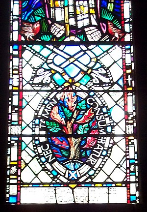 "Church of Scotland - Stained glass showing the burning bush and the motto ""nec tamen consumebatur"", St. Mungo's Cathedral, Glasgow."