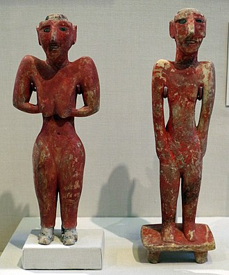 Neolithic - Female and male figurines; 9000-7000 BC; gypsum with bitumen and stone inlays; from Tell Fekheriye (Al-Hasakah Governorate of Syria); University of Chicago Oriental Institute (USA)