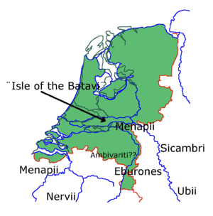 Romans in the Netherlands - Image: Netherlands in time of Caesar