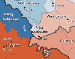 New Silesia - New Silesia among the Polish territories annexed by Prussia in the Third Partition (light blue)