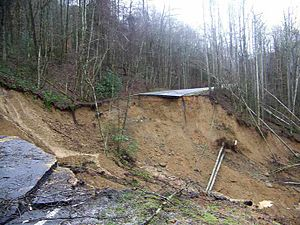 January 2013 Southeastern United States floods - Newfound Gap Road landslide January 16, 2013