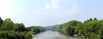 Newport, Tennessee - The French Broad River in the vicinity of Fine's Ferry at Newport's northern border