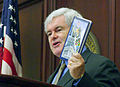 Newt Gingrich addresses Florida House in 2006 while holding book written by Rubio.jpg