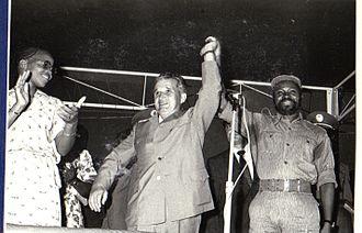 Graça Machel - Graça and Samora Machel hosting Romanian Communist leader Nicolae Ceauşescu, Maputo, 1979