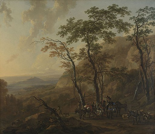 Nicolaes Berchem - Mountainous Landscape with Muleteers
