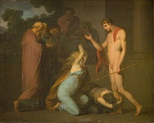 Ismene and Antogone Plead with Theseus