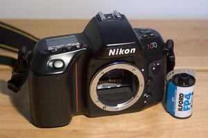 Nikon N70 35 mm film SLR camera body.