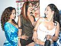 Nina Mercedez, Satine Phoenix, Leah Lexington at Evil Angel Party 2.jpg