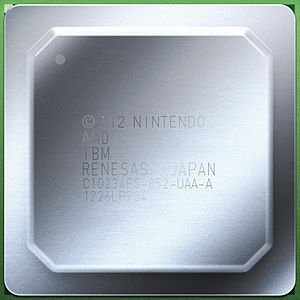Espresso (microprocessor) - An illustration of the Wii U MCM with heat spreader. The markings indicate that its designed by Nintendo, and its components are made by AMD, IBM and Renesas. It also says that it was assembled in Japan, the 26th week of 2012.