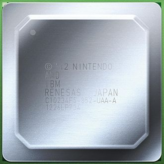 Espresso (microprocessor) - An illustration of the Wii U MCM with heat spreader. The markings indicate that it is designed by Nintendo, and its components are made by AMD, IBM and Renesas. It also says that it was assembled in Japan, the 26th week of 2012.