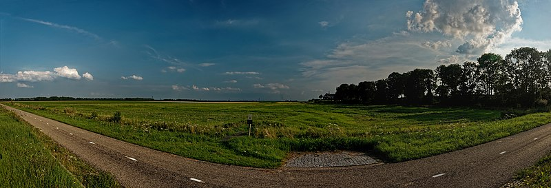 File:Noordoostpolder - Schokland - Schokkerringweg - ICE Photocompilation Viewing from ESE to SW on the former Isle of Schokland.jpg