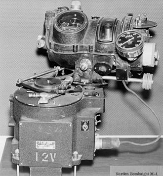 Bombsight - The Norden M-1 is the canonical tachometric bombsight. The bombsight proper is at the top of the image, mounted on top of the autopilot system at the bottom. The bombsight is slightly rotated to the right; in action the autopilot would turn the aircraft to reduce this angle back to zero.