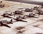 North American SNJ Texans parked at Naval Air Station Miami, circa 1942-43 (80-G-K-13376).jpg
