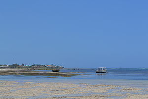 Nyali Beach towards the north from Mombasa Beach Hotel during low tide and still conditions in Mombasa, Kenya 2.jpg