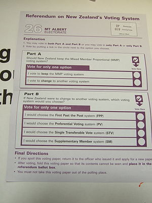 New Zealand voting system referendum, 2011 - A referendum ballot paper