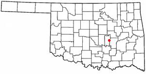 Wewoka, Oklahoma - Image: OK Map doton Wewoka