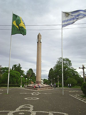 "Rivera - Obelisk of the Plaza Internacional, at the ""Frontera de la Paz"", between the cities of Rivera and Santana do Livramento of Brazil."