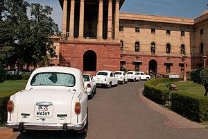 Hindustan Ambassador - Official Hindustan Ambassador cars parked outside North Block, Secretariat Building, New Delhi