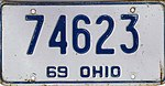 Ohio 1969 license plate - Number 74623.jpg