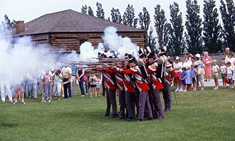 Fort York - The Fort York Guard in the uniforms of the 8th (King's) Regiment, since changed to the Canadian Fencibles