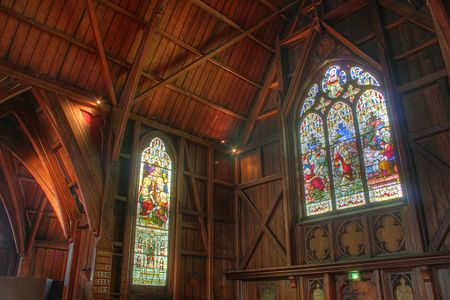 Tone mapped High dynamic range image example showing stained glass windows in south alcove of Old Saint Paul's, Wellington, New Zealand. Old saint pauls 1.jpg