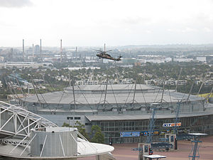 Tactical assault group - An Army Black Hawk helicopter simulating counter-terrorism scenarios at Sydney Olympic Park, 2008.