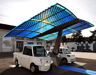 Outline of sustainability - Sustainable urban design and innovation: Photovoltaic ombrière SUDI is an autonomous and mobile station that replenishes energy for electric vehicles using solar energy.