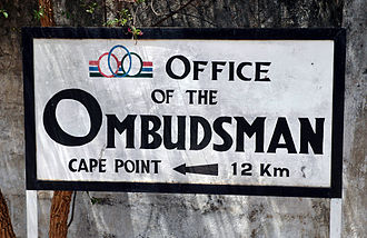 Ombudsman - Sign in Banjul, capital of The Gambia, giving directions to the ombudsman's office