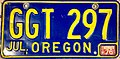 Oregon 1964-72 license plate with 1976 sticker - Number GGT 297.jpg