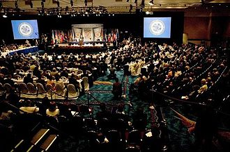 Organization of American States - A session of the OAS's thirty-fifth General Assembly in Fort Lauderdale, Florida, United States, June 2005.