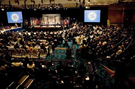 A session of the OAS's thirty-fifth General Assembly in Fort Lauderdale, Florida, United States, June 2005. Organization of American States General Assembly.jpg