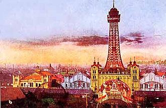 Shinsekai - Original Tsutenkaku Tower, with Shinsekai Luna Park in the foreground, c. 1912