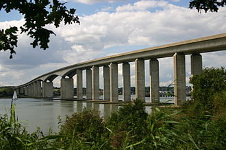 A12 road (England) - The A12 (multiplexed with the A14) passes over the Orwell Bridge south of Ipswich