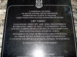 Orzeł incident - Image: Orzel 1939 tablica tallin