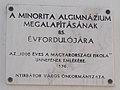 Our Lady church, 1000 years old is the Hungarian school plaque (1996), 2017 Nyírbátor.jpg