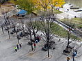 Outdoor benches at The Forks in Winnipeg, Manitoba.JPG
