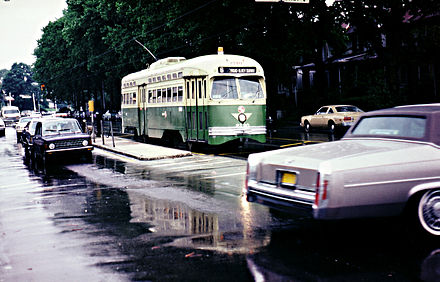 The former SEPTA Route 6 trolley during the early 1980s. PCC2790 Philly 1970s.jpg