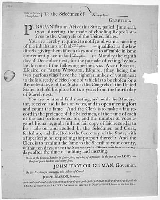 Paine Wingate - Order by Governor John Taylor Gilman for meeting to vote for member of Congress. Paine Wingate and Abiel Foster candidates