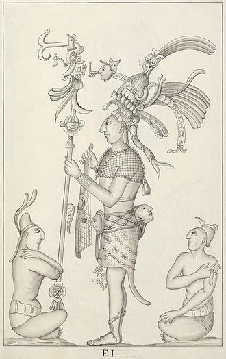 1780s in archaeology - Detail of a relief from a Mayan ruin at Palenque drawn by Ricardo Almendáriz at the time of its original excavation in 1787