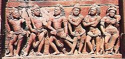 Pandavas with Draupadi OR ayudhapurushas facing Madhu Kaitabha