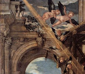 Adoration of the Magi (Veronese) - Detail, top left